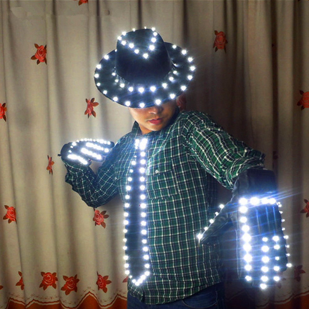 LED Costume Clothes LED luminous jazz Hat With Light Tie LED gloves LED Suit For Michael