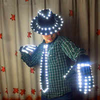LED Costume Clothes LED luminous jazz Hat With Light Tie LED gloves LED Suit For Michael jacket Cosplay Costume