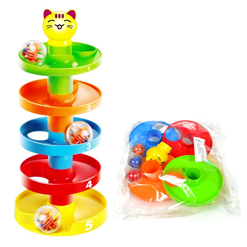 Baby Toys Tower Ramp Billowed Ball Bell Toy Set Infant Developmental Educational Toys(China)