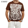 E-BAIHUI 2016 Summer New Brand fashion Men Cotton motorcycle printed slim t shirt wine red black mens hip hop tee tops y032