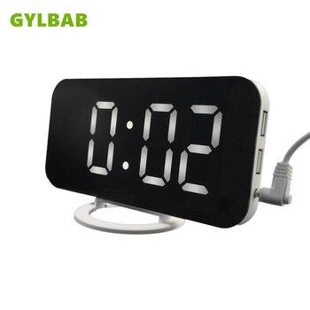 Miroir LED bureau horloge murale réveil numérique affichage montres modernes veilleuse maison cuisine bureau chambre mode cadeau bureau