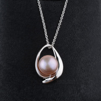Freshwater Pearl Pendant Necklace 925 Sterling Silver Cable Chain With Extender Button Cultured Pearls Jewelry For