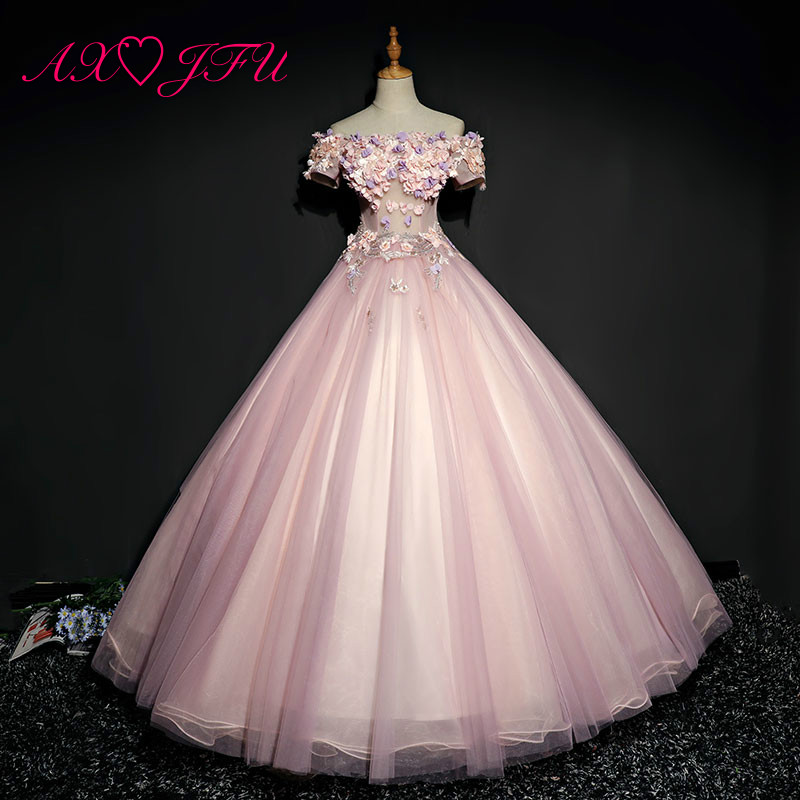 AXJFU princess pink flower bride   evening     dress   vocal solo theatrical costumes boat neck beading grey lace   evening     dress