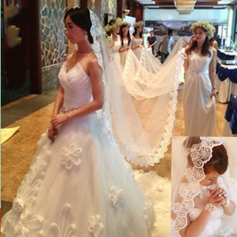 Hot !!! Overlength 10M Long Bridal Veils for Wedding Lace Applique One Layers Bride Veil Real Sample White Ivory 2017