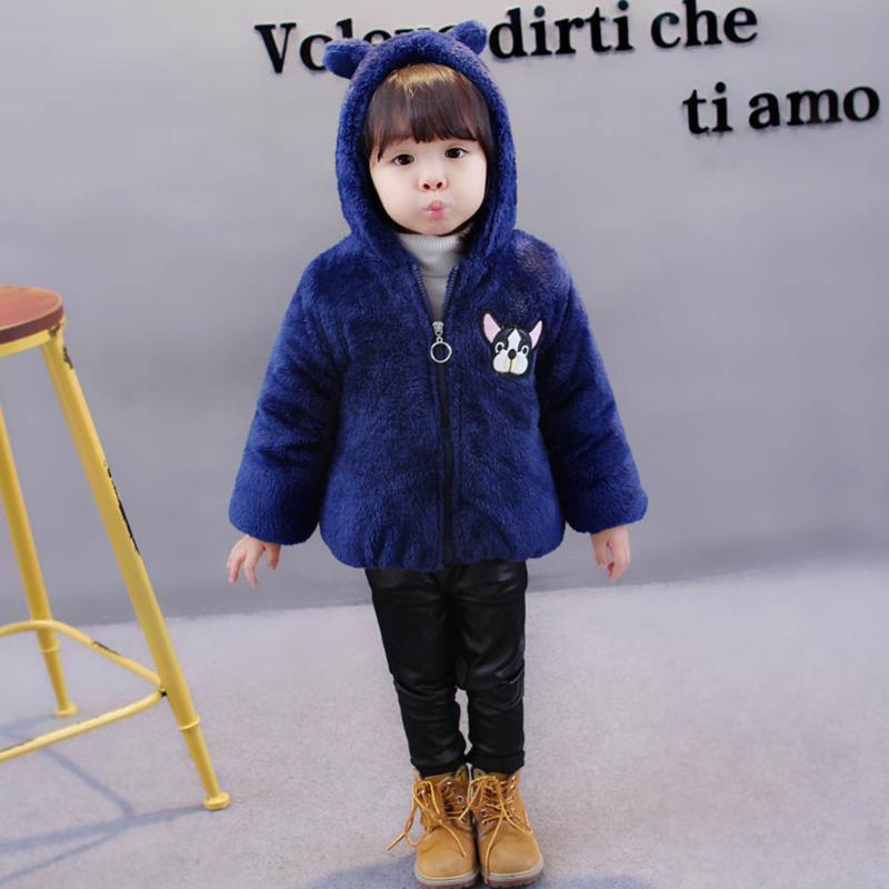 Зимние из искусственного флиса детские пальто плюшевая зимняя теплая куртка одежда для девочек и мальчиков милая собака печать детская вер...