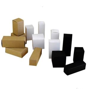 Image 4 - 50 個 100 個クラフト紙用のダンボール箱ジュエリーギフトキャンディ包装カートンボックスギフト石鹸パッケージ包装紙ボックス白