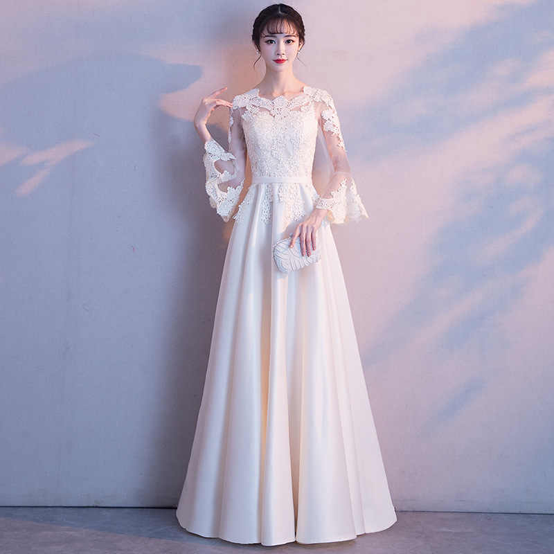 5e713f10d White Lace Women Chinese Traditional Dress Party Lady Elegance Cheongsam  Wedding Dress Vintage Bridesmaid Qipao Evening