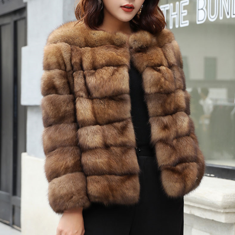 Jackets & Coats Fashion Style Real Sable Whole Mink Fur Women Slim Medium Coat With Hood Martes Zibellina Mink Fur Zipper Jacket Porpular Mink Fur