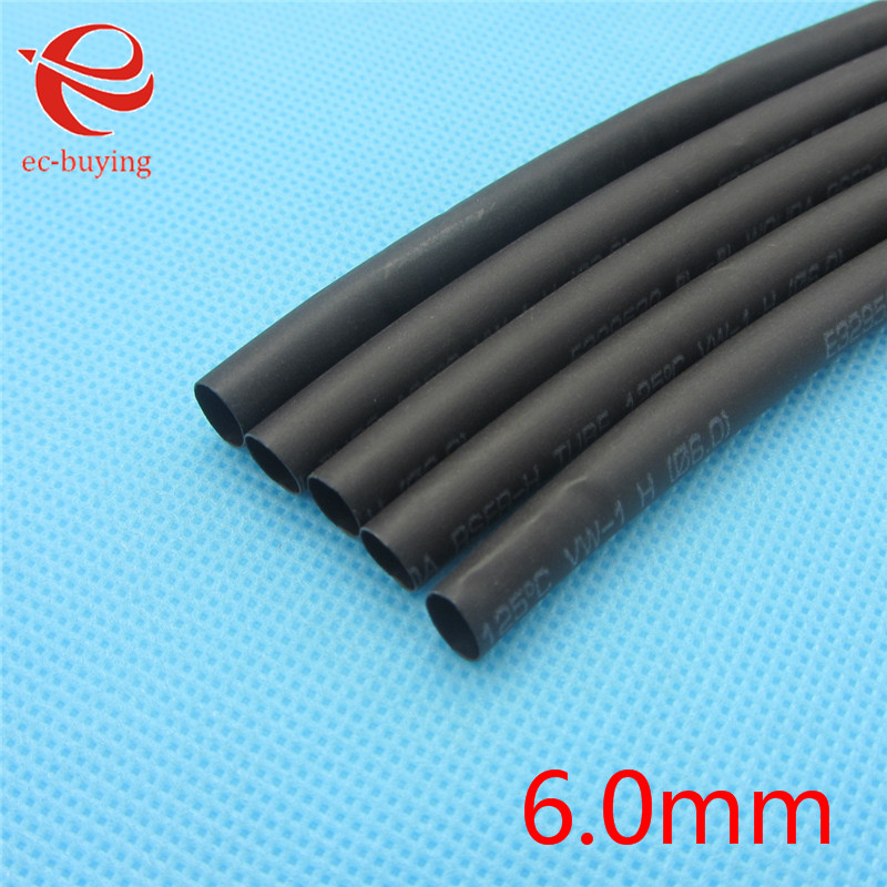 1m Heat Shrink Insulation Sleeving Heatshrink Tubing 600 Voltage 125 Celsius Black Tube Wire Wrap Cable Kit Inner Diameter 6mm