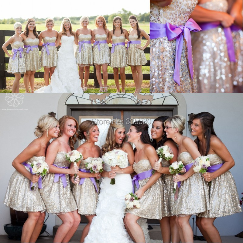 989cf50983c 2015 Fashion Design Short Rose Gold cheap Bridesmaid dresses under 50 with Purple  Sash Sweetheart Mini Wedding Party Prom Dress