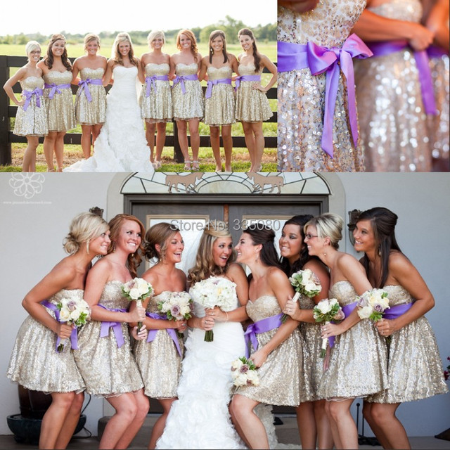 e1dfc6570e2 2015 Fashion Design Short Rose Gold cheap Bridesmaid dresses under 50 with  Purple Sash Sweetheart Mini Wedding Party Prom Dress