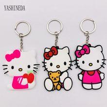 5b42f69f1 10PCS Soft PVC Hello Kitty Keychain Cartoon Figure 3D Double Side Key Ring  Key Chain Kids Toy Pendant Key Holder Trinket Gift