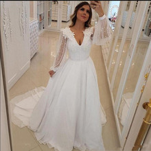 SexeMara Wedding Dresses with Long Sleeves V-neck Dress For