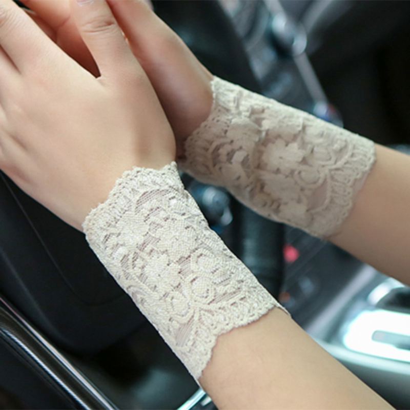 2PCS 8CM Lace Wrist Cover Woman Wrist Cover Clothing Accessories Breathable Bracers Anti-UV Lace Pattern  Hoe Sale