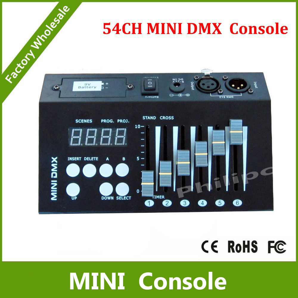 цены DHL Free Shipping 54CH mini dmx controller console dj console dj controller DJ lighting controller 9V battery / 12V DC powered