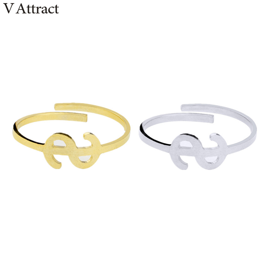 V Attract 10pcs Anillos Mujer Stainless Steel Dollar Sign Knuckle Ring Women Men Jewely Silver Rose Gold Punk Aneis Masculino