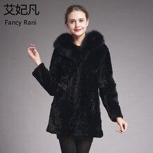 Женская Шуба из натурального меха, воротник из лисьего меха, модная шуба из овчины, длинная куртка, шуба из овчины, красивая женская шуба из натурального меха