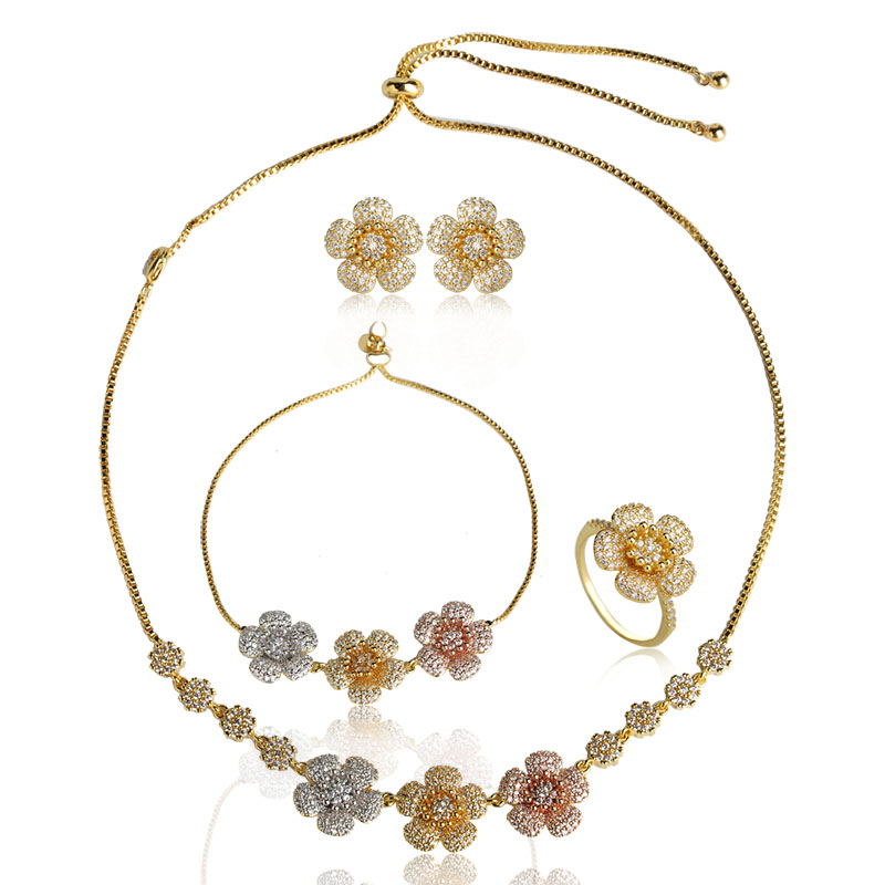 Blucome Luxury Tricolor Flower Necklace Earrings Ring Bracelet Jewelry Set Copper Shiny Zircon Women Banquet Wedding AccessoriesBlucome Luxury Tricolor Flower Necklace Earrings Ring Bracelet Jewelry Set Copper Shiny Zircon Women Banquet Wedding Accessories