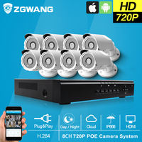 ZGWANG 8CH 720P NVR HD PoE Outdoor Indoor Security Camera System ONVIF POE IP Camera HD