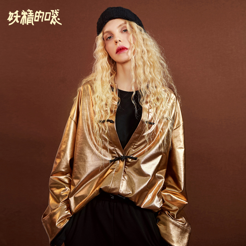 ELF SACK Autumn New Woman Shirts Solid Square Collar Full Women Shirts Streetwear Gold Femme Blouse