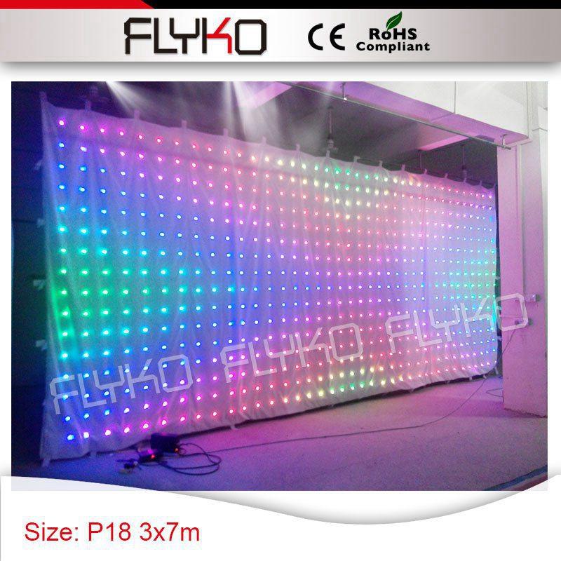 Фея светодиодные фонари белый занавес RGB 3in1 цвет светодиодов Дисплей P18cm LED DJ экран видео curtian