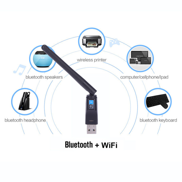 150Mbps Mini USB Wireless N WiFi Bluetooth 4.0 WLAN Network Adapter with Antenna IEEE 802.11n/g/b for Windows 7/8/10/Linux/Mac
