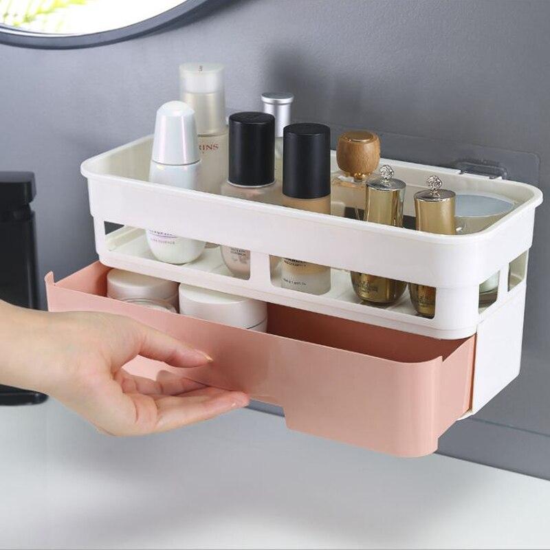 Bathroom Shelf Adhesive Storage Rack Corner Shower Shelf Kitchen Home Decoration Bathroom Accessories Suction Cup Rack Organizer