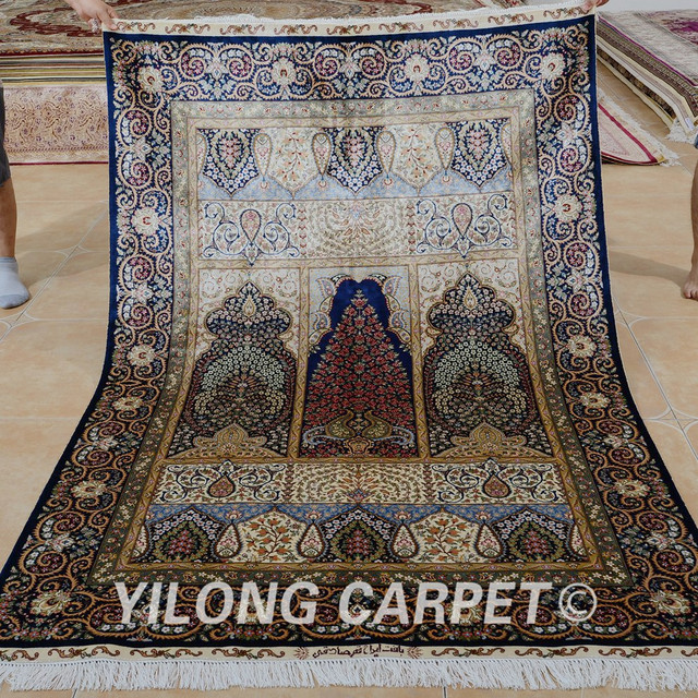 Yilong 4 5 X6 Tabriz Silk Carpet New Design Handmade Exquisite Iran Area