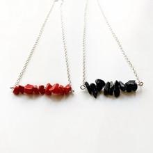 Crystal Chip Beads Jewellery Vintage Red Stone Blue Sandstone Pendant Necklace Men Women Reiki Healing 1pc