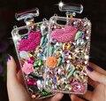 Lindo 3d bling crystal botella de perfume back case cover para samsung galaxy borde s6 s5 nota 3 nota 4 iphone 6 7 plus teléfono casos