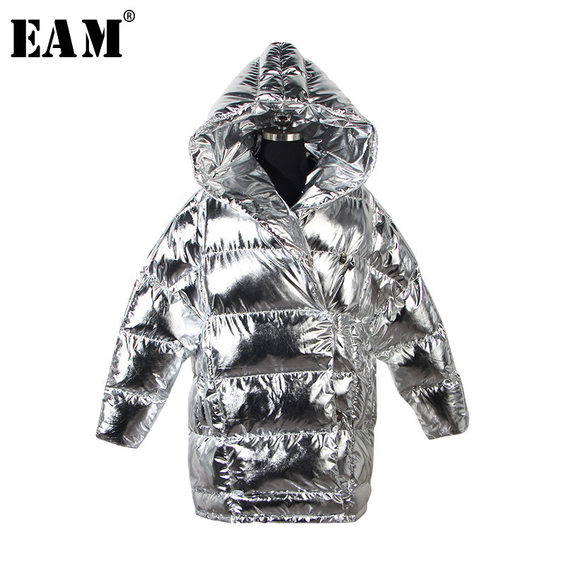 [EAM] 2019 New Spring Hooded Long Sleeve Black Loose Metal Color Loose Long Warm Cotton-padded Coat Women Fashion JI436