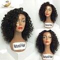 7А Glueless Полный Кружева Парики Человеческих Волос Deep Вьющиеся Короткий Парик 100% Бразильский Девственные Волосы Кружева Перед Парики Человеческих Волос Для Черных женщины