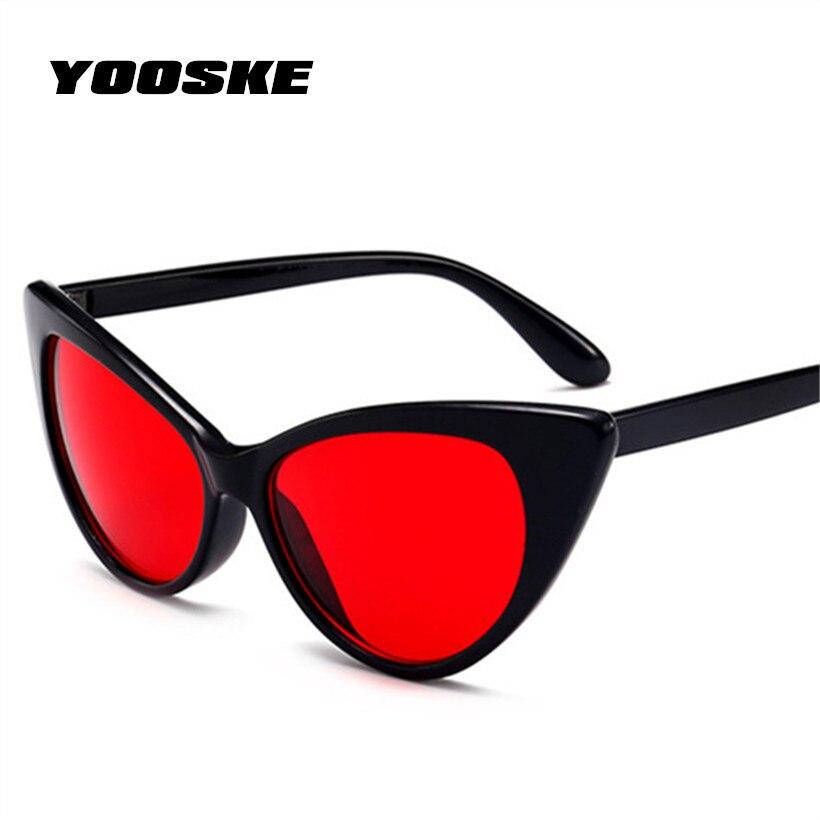 YOOSKE Fashion Red Cat Eye Sunglasses Women Clear Design Vintage Sun Glasses Transparent Frame CatEye Eyewear Pink Black color