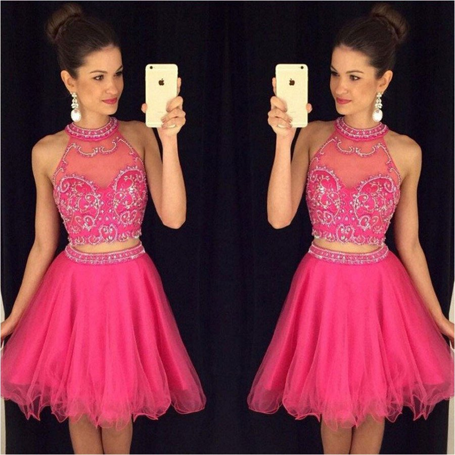 Fuchsia Cute Two Pieces Juniors Short   Cocktail   Party   Dresses   Knee Length Crystals Tulle Sparkly Beaded Prom   Cocktail     Dresses