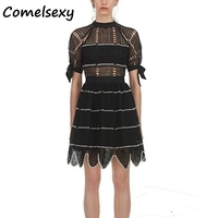 High Quality 2019 Spring Fashion Brand Designer Runway Dress Women Sexy Hollow Out Bow Lace Dresses Lady Black Party Dress