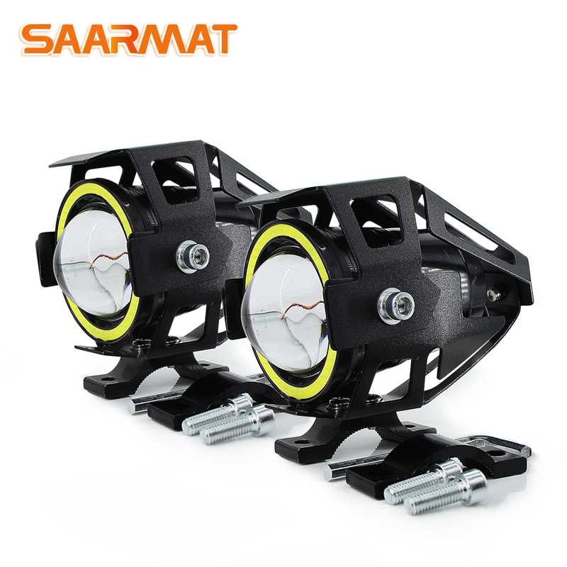 2x 125W U7 Store Motorcycle Angel Eyes Headlight DRL spotlights auxiliary bright LED bicycle lamp accessories car work Fog light 2x 50 60 70 80 90 100mm cob angel eye led drl chip car motorcycle light super bright waterproof auto headlight car light source