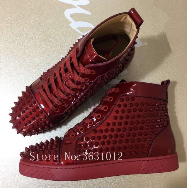 2018 Newest Patent Leather Red Leather High Top Lace Up Men Casual Shoes Flats Rivets Studs Shoes Mens Sapatos Sneakers