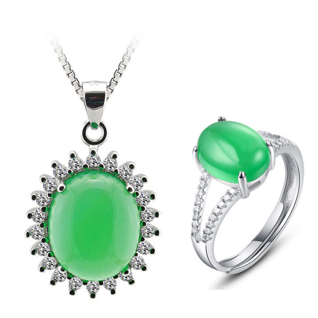 Guarantee AAA 100% Sterling Silver 925 Natural Green Agate Jewelry Sets for Women Free Shipping