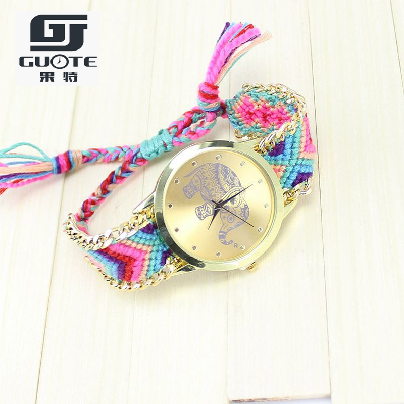 10 Colors Hot Sale Women Fashion Watch Geneva Handcrafted Elephant Pattern Lady Quartz Watches High Quality Gift Girl Clock 2015
