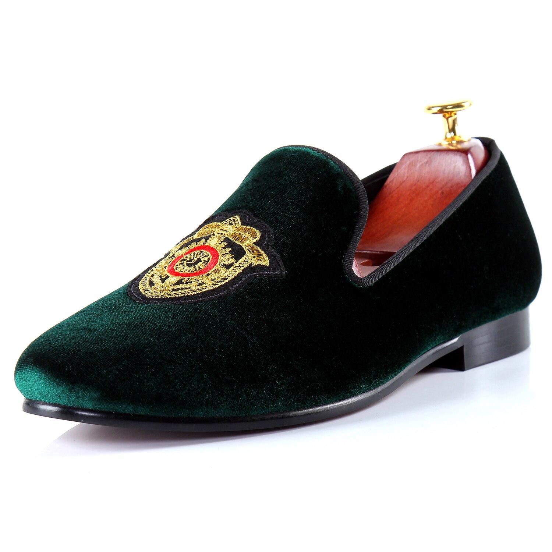 Harpelunde Driving Loafer Shoes Men Green Flats Badge Velvet Slippers Size 7-14 ...