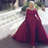 SIJANE Muslim Lace Court Mermaid Wedding Dresses Long Sleeve Robe De Mariee Royal Ball Gown Bridal Dresses 0923