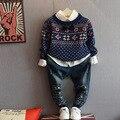 Мальчики свитер детская одежда Детская Свитера Дети Свитера зимы осени Трикотажные Пуловеры один шеи воротник Теплый Верхняя Одежда свитера для мальчика