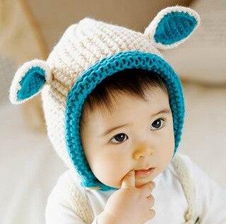 Infantile Bébé Oreille Bonnet En Tricot Printemps Hiver Printemps Automne  Chaud pour Garçons Filles Oreilles De Lapin Heureux Chapeau 3bcc90d6dff