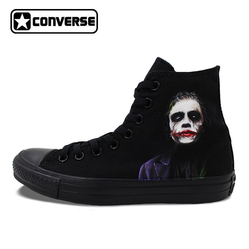 Converse Chuck Taylor Hand Painted Shoes Custom Design Joker Batman Men Women's Sneakers High Top Skateboarding Shoes