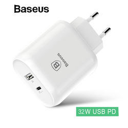 Baseus Dual USB Charger Adapter 32W Type-C PD Quick Charger Double USB Travel Wall Power Adapter For iPhone Samsung Xiaomi