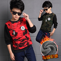 Children's clothing teenage boys t-shirt 2016 autumn and winter child long-sleeve basic shirt plus velvet camouflage t shirt