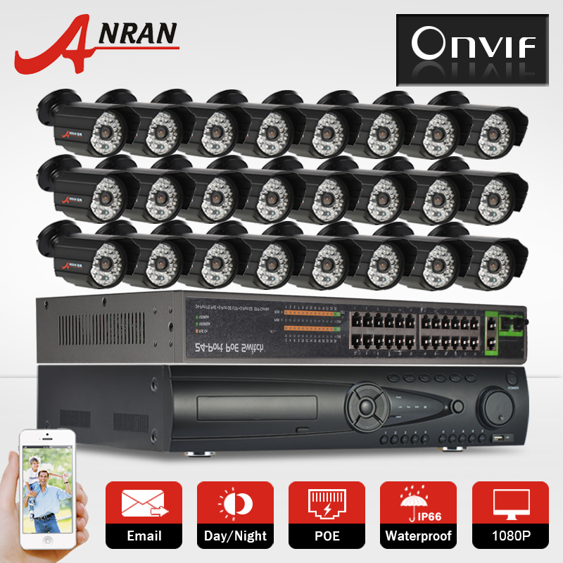 9TB HDD 24CH POE Switch 24CH NVR H.264 Surveillance Video POE System Onvif 2.0MP 1080P HD 48IR Outdoor Network POE IP Camera Kit