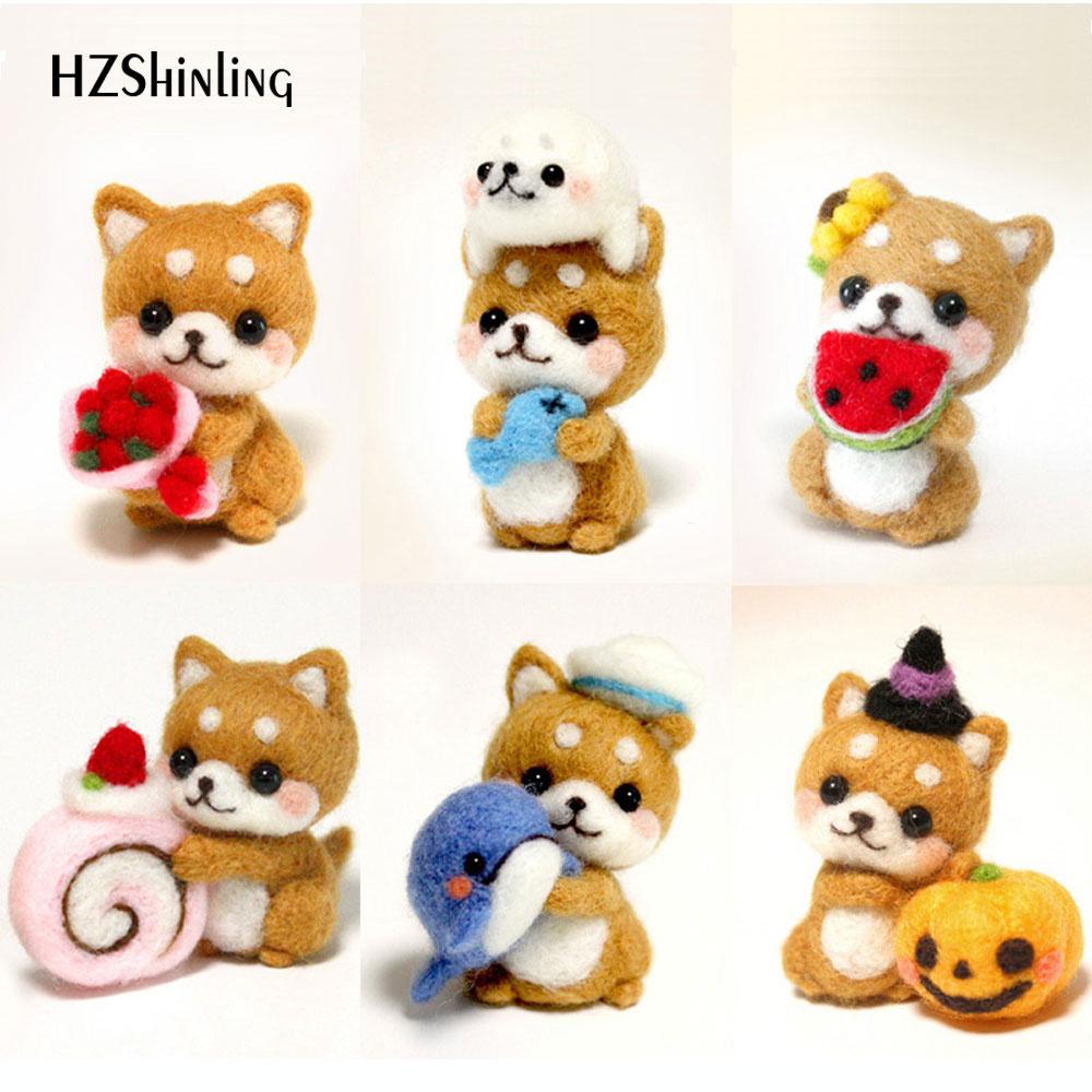 Girls Naughty Cute Dog Pets Handmade Toy Doll Wool Felt Poked Kitting Non-Finished DIY Wool Felting Package(China)