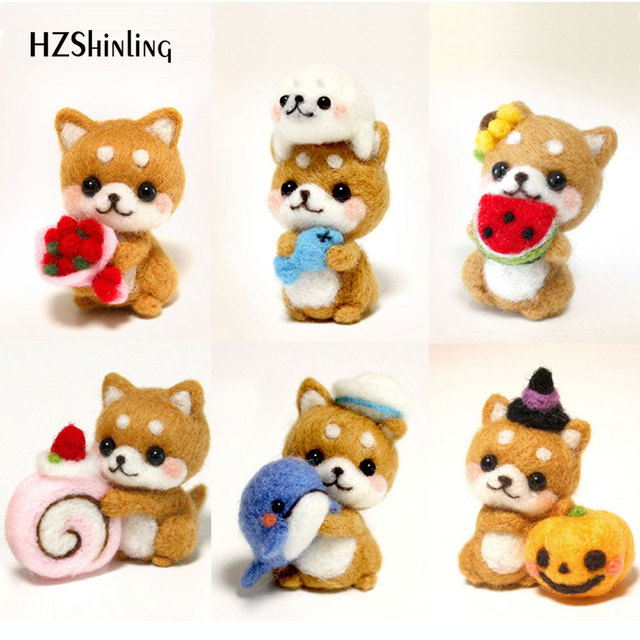 Girls Naughty Cute Dog Pets Handmade Toy Doll Wool Felt Poked Kitting Non-Finished DIY Wool Felting Package