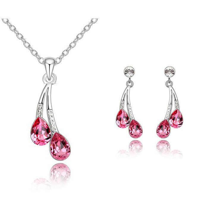 חדש 2014 נשים תכשיטים סט כסף מצופה סט תכשיטי קריסטל עגילים & שרשרת לחתונה הכלה תכשיטים